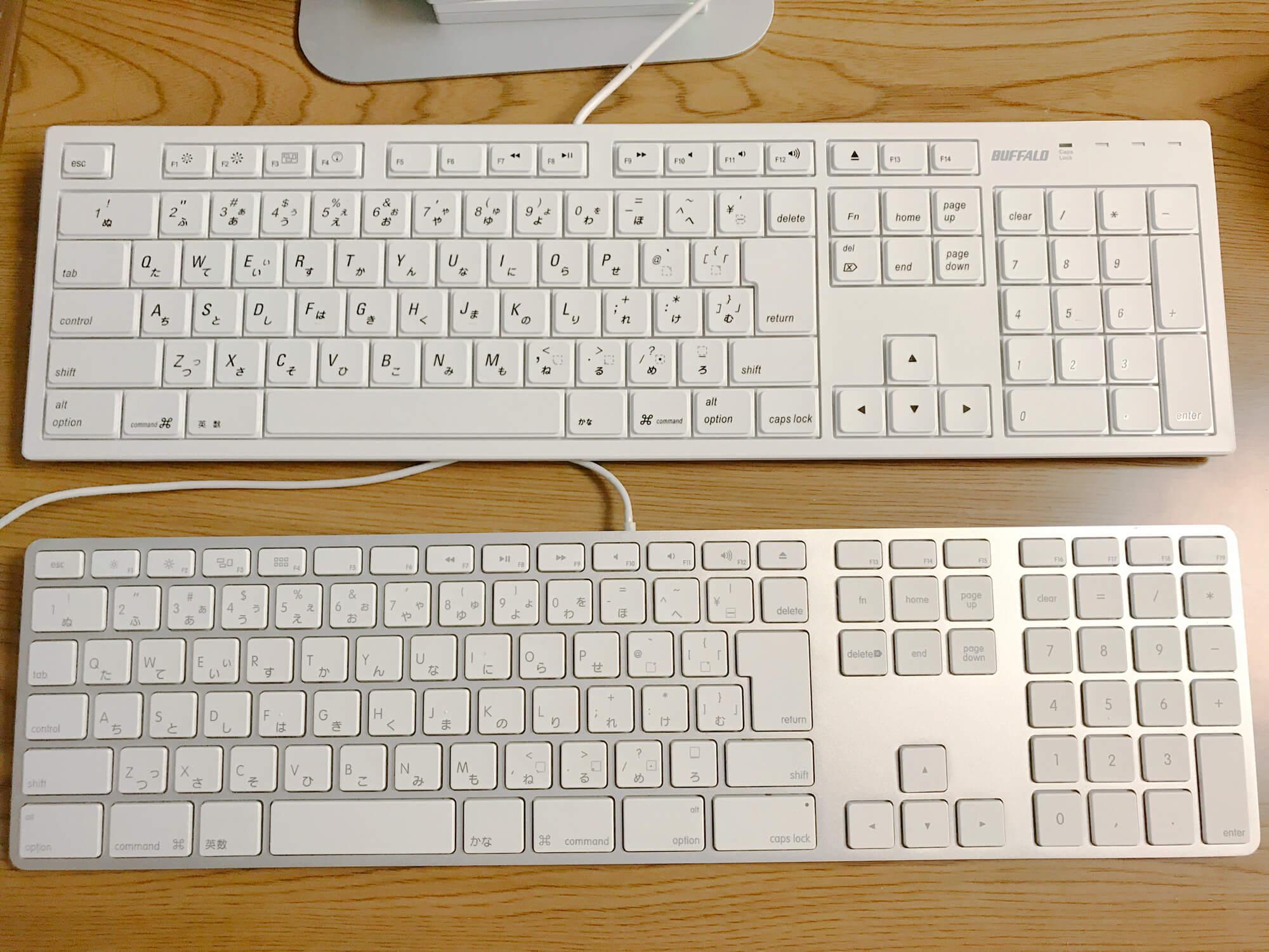 バッファロー BSKBM01WHとmagic keyboardの比較